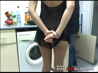 housewife receives without panties the plumber