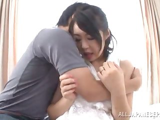 sophisticated mature japanese getting drilled with a toy