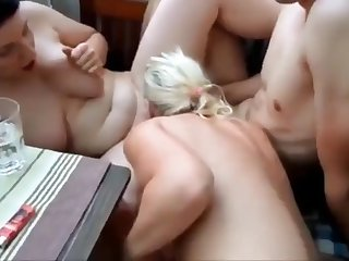 dude fucks girlfriend on balcony while busty milf watching