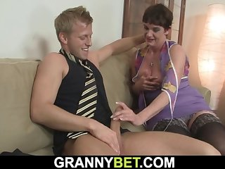 old granny in stockings rides his big cock