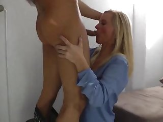 sexy milf in stockings gets filled up with cum by young guy