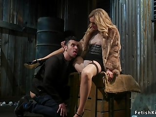 blonde domme anal fingers male slave