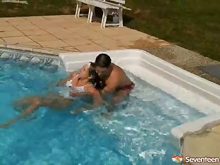 curvy blonde teen gets nailed poolside